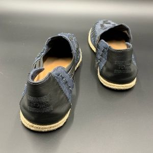 TOMS Denim and Leather Huarache Style Slip Ons